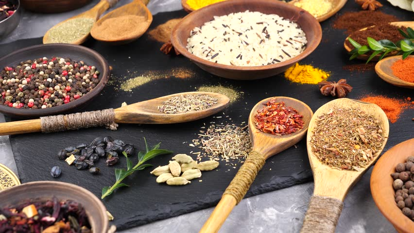 Spices and seasonings for cooking in the composition on the table #1024831661