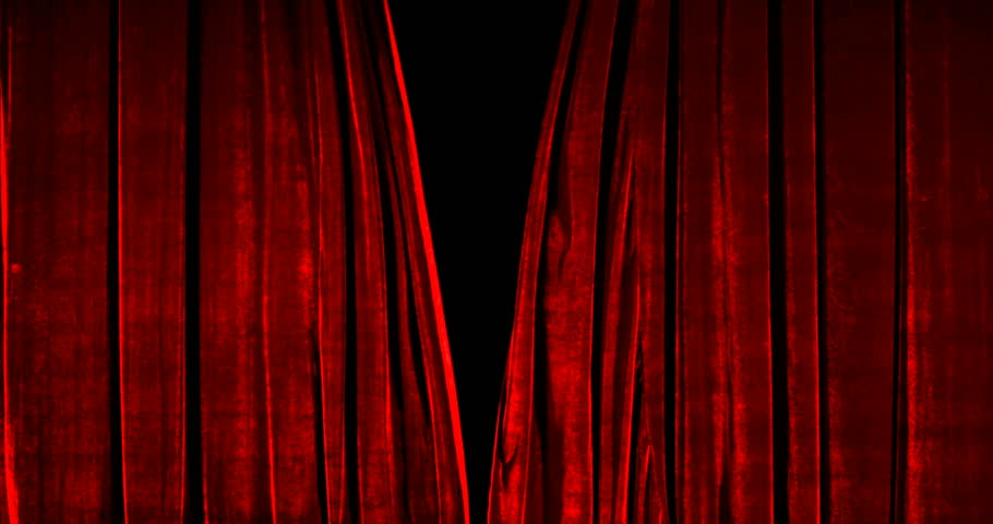 Real Velvet Cloth Stage Cinematic red silk Curtain open footage. Curtain For theater, opera, stage scenes. This opening curtain are shooted on Red Camera - slow motion. Real Cinematic Curtain.