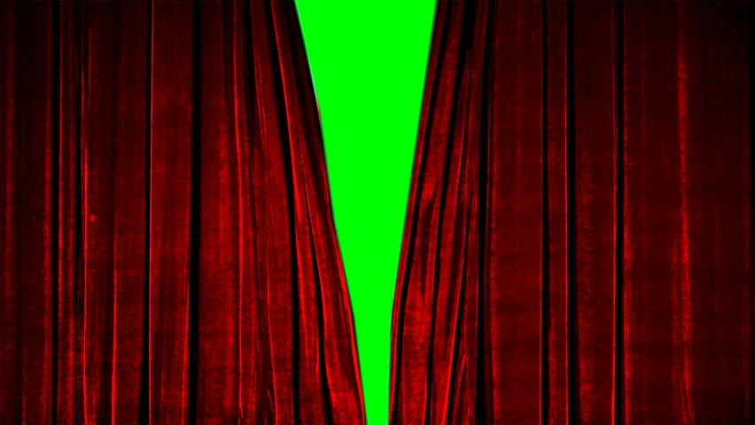 Real Velvet Cloth Stage silk red Curtain open on green screen. Curtain For theater, opera, show, stage scenes. This opening curtain are shooted on Red Camera - slow motion. Real Cinematic Curtain.