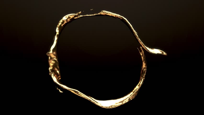 Slow motion liquid gold flows in a looping motion across the screen against a dark background. Matte is included for compositing. | Shutterstock HD Video #1024847810