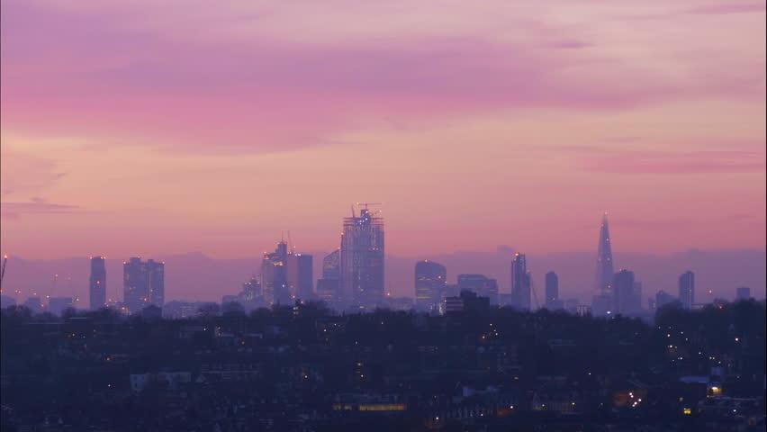 London City Sunrise Misty Time Lapse Royalty-Free Stock Footage #1024869965