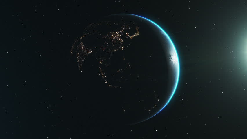 Looping animation of the night side of earth, slowly rotating in space. The sun backlights the planet, revealing a million lights from cities on the surface below. Clip loops seamlessly. | Shutterstock HD Video #1024905005