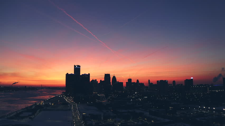 Detroit downtown drone view Winter Panorama at Sunset