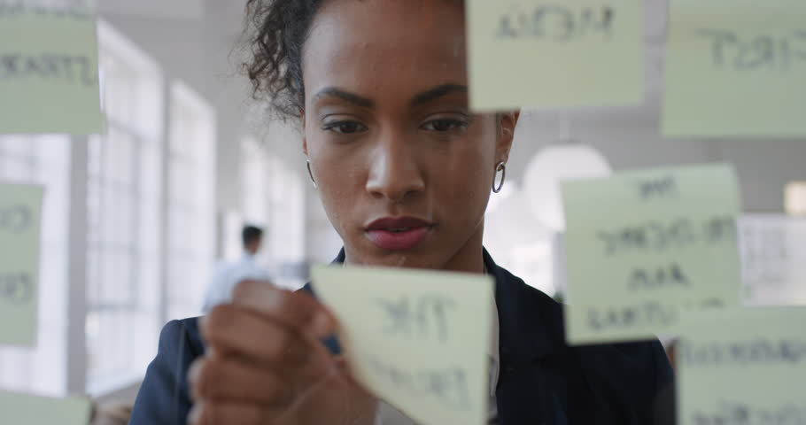 Mixed race business woman using sticky notes brainstorming ideas problem solving with creative mind map planning strategy in office working on solution | Shutterstock HD Video #1024940507