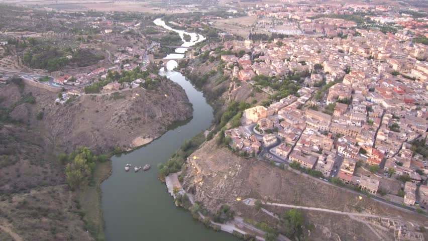 Aerial view in Toledo. Castilla la Mancha. Spain. 4k Drone Video