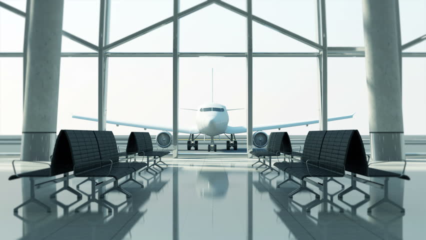 4K Animation of Airport Terminal Waiting Area with View on Airplane #1024963061