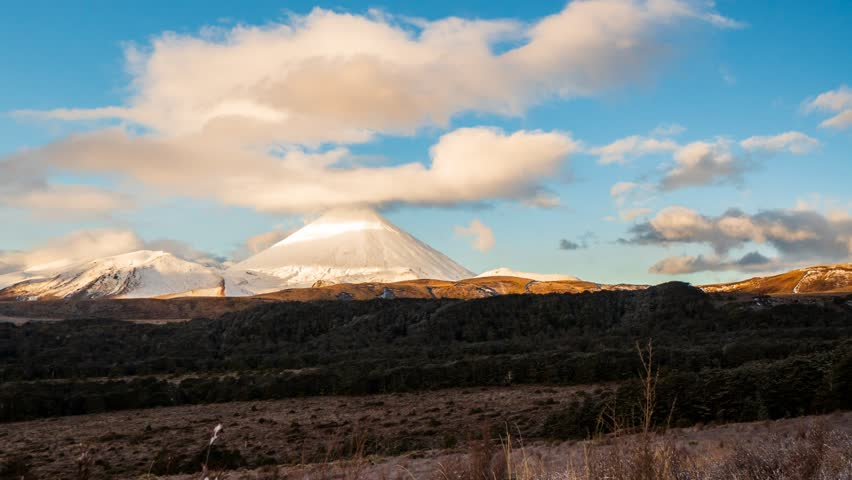 4K Cinematic Zooming Out Time Lapse Footage of Mount Ngauruhoe also known as Mount Doom at sunset in Tongariro National Park in North Island, New Zealand. | Shutterstock HD Video #1024988459