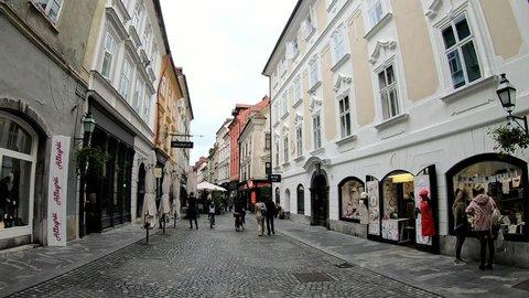 Ljubljana, NOV 3: Cityscape of the town center on NOV 3, 2018 at Slovenia