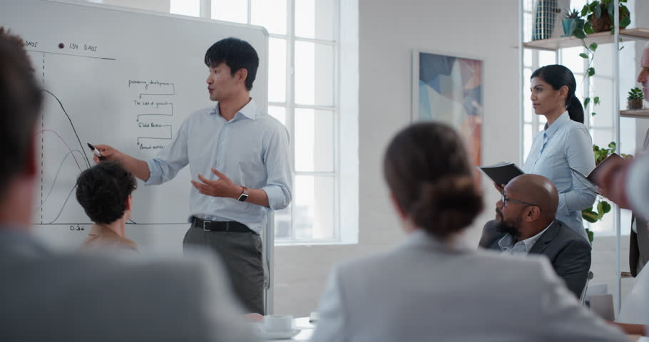 asian businessman presenting project development seminar showing diverse corporate management group ideas on whiteboard in startup office training presentation #1024998656