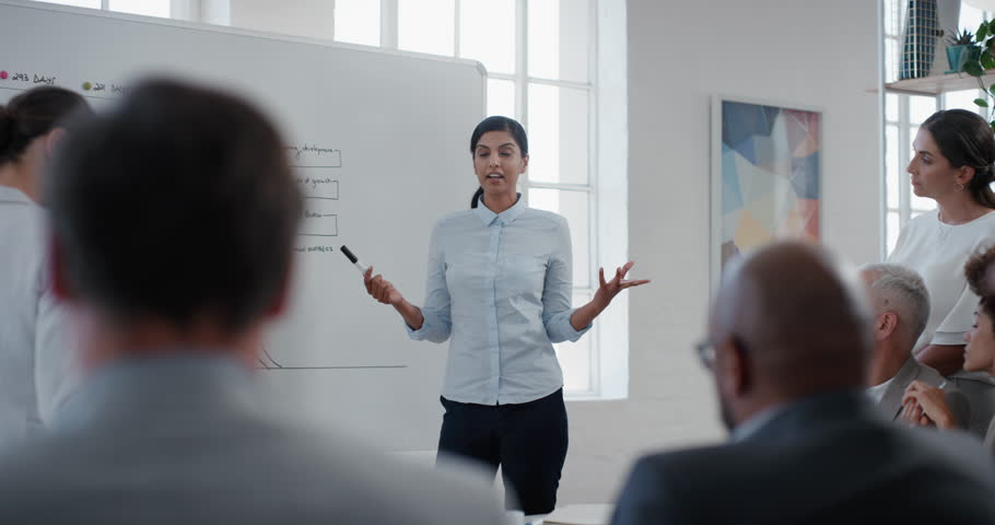 indian business woman team leader presenting project strategy showing ideas on whiteboard in office presentation diverse colleagues enjoying training seminar Royalty-Free Stock Footage #1025003192