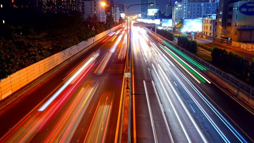 4k time lapse night traffic at Bangkok, Thailand. | Shutterstock HD Video #1025034773