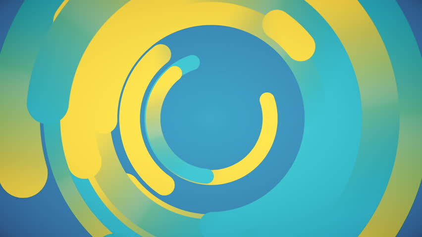 Abstract background in flat style with animation rotation of rounded lines and circles on colorful backdrop. Animation of seamless loop.