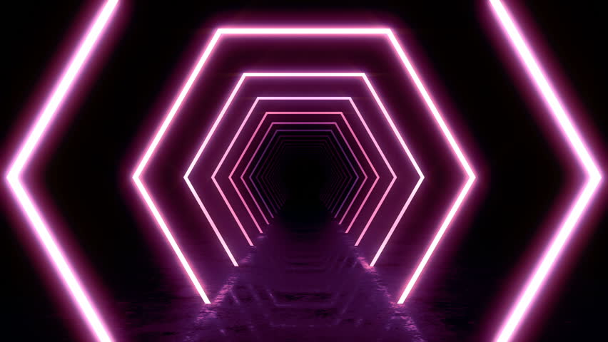 Abstract background with animation of flight in abstract futuristic tunnel with neon light. Animation of seamless loop.  | Shutterstock HD Video #1025050802