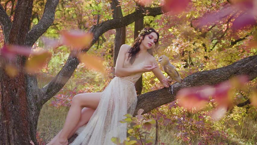 girl with dark curly hair in spring bright green and pink forest in beige dress sits on tree and showing long bare legs, model with barnowl on her arm, white cute bird, fairy nymph playing with chick