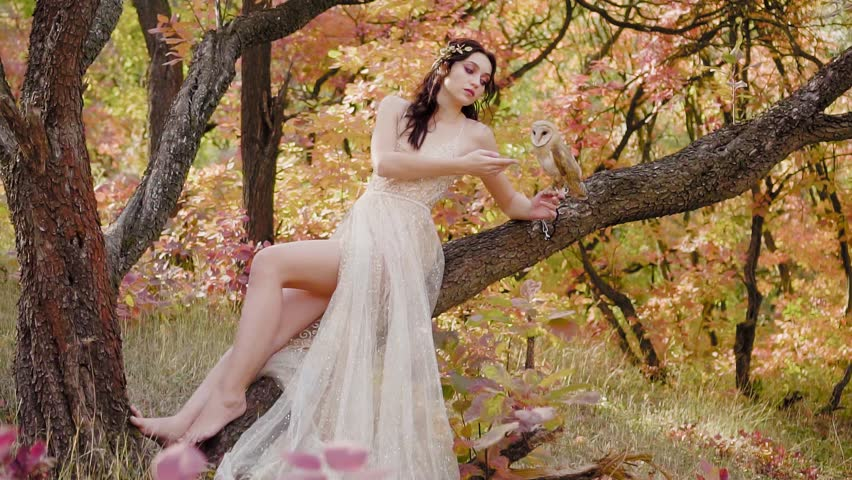 charming sweet girl with dark curly hair in spring bright green and pink forest in chic expensive beige dress sits on tree and showing long bare legs, model with barnowl on her arm, white cute bird