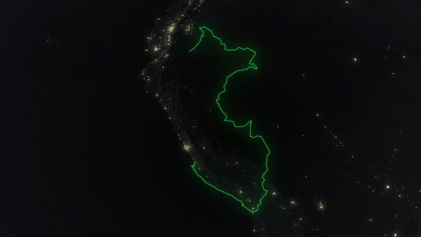 Realistic 3d animated earth showing the borders of the country Peru and the capital Lima in 4K resolution at night
