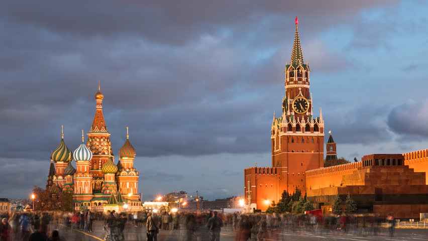 Day to night hyper lapse of Red Square, Kremlin and Saint Basil's Cathedral, Moscow, Russia.