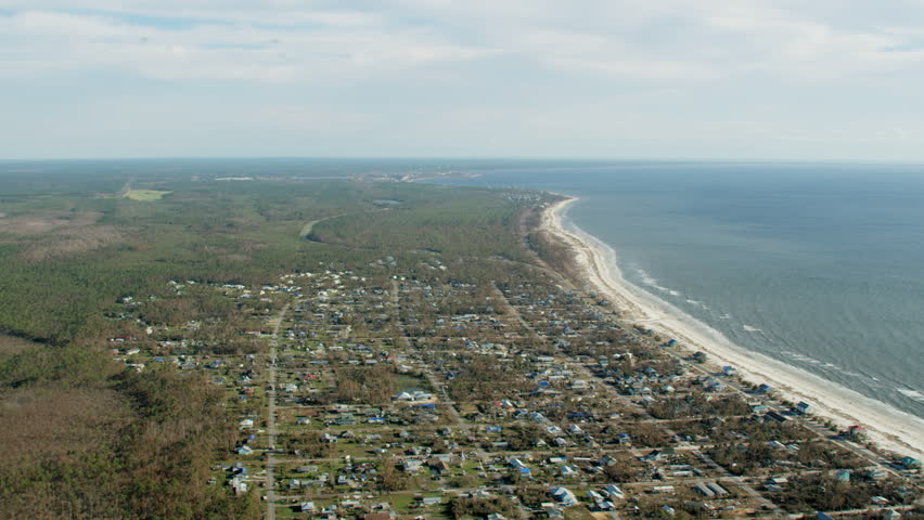Aerial view of Mexico beach Florida Landfall of Hurricane Michael property and shoreline storm damage after ocean surge USA RED WEAPON | Shutterstock HD Video #1025161961