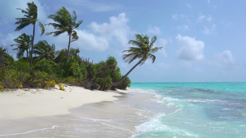 Tropical Sandy Beach of the Deserted Island Innafushi in Baa Atoll, Maldives   Shutterstock HD Video #1025163617