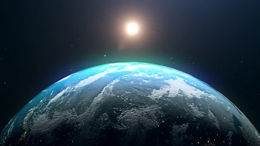 Realistic Earth, World sunrise 3d rendering. Globe planet and sun on space. | Shutterstock HD Video #1025167559