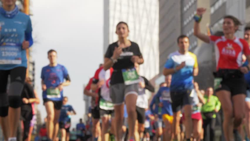 Urban Half Marathon in Barcelona. Happy Runners. Slow Motion. Unfocused | Shutterstock HD Video #1025168057
