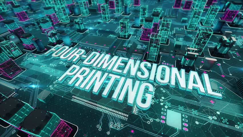 Four-dimensional printing with digital technology concept