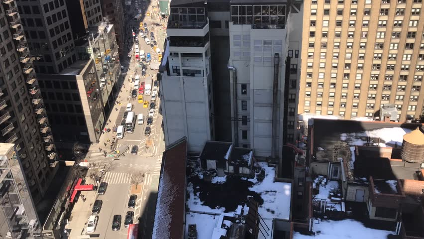 Time lapse of aerial view of Broadway on a weekday. #1025204582