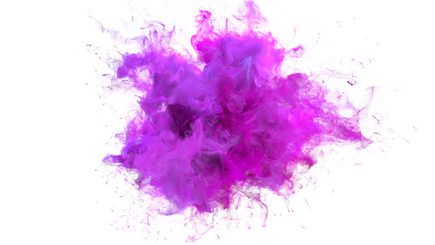 Magenta Pink Color Burst - colorful smoke explosion fluid particles slow motion alpha matte isolated on white