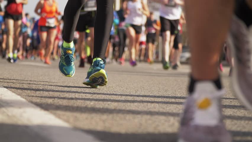 Urban Half Marathon in Barcelona. Runners Legs Close Up. Slow Motion  | Shutterstock HD Video #1025231336