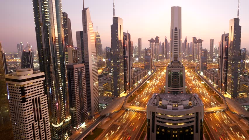 Cityscape View of Dubai Skyline and Urban Roads in the United Arab Emirates | Shutterstock HD Video #1025235617