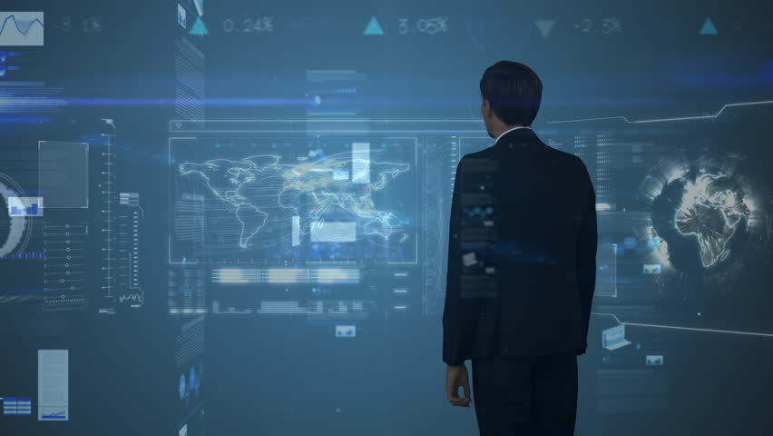 Digital illustration of handsome business man touching futuristic screen #1025236538