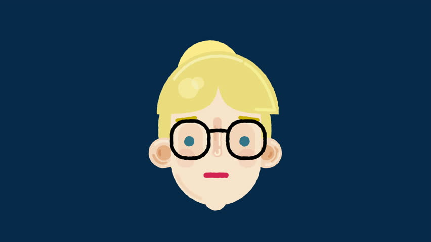 2D vector animated portrait of a blond woman with glasses, talking and looking around. Usable for presentations, made in 4K + Alpha channel.