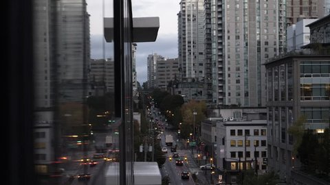 Morning traffic in downtown Vancouver.