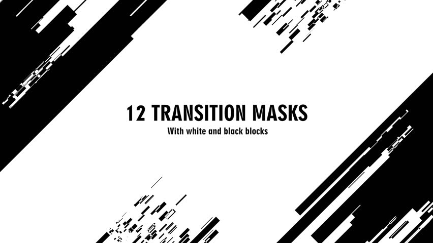 12 futuristic transition masks. Abstract motion graphics and animated background with white and black block figures. Transition monochrome masks templates 4K. See more  in my portfolio Royalty-Free Stock Footage #1025256038