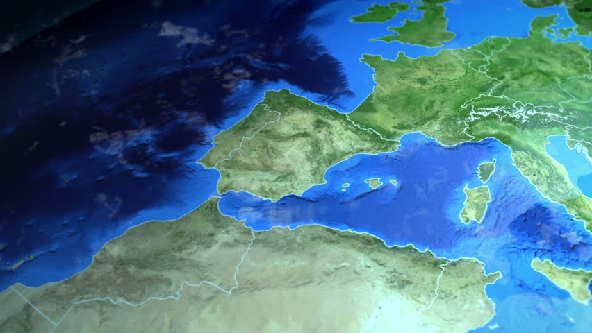 Spain on the Europe map. 3d map render, motion through clouds, land view from top with zoom of continent. Animated pin marked location of country on the geographic map. Background for travel intro.