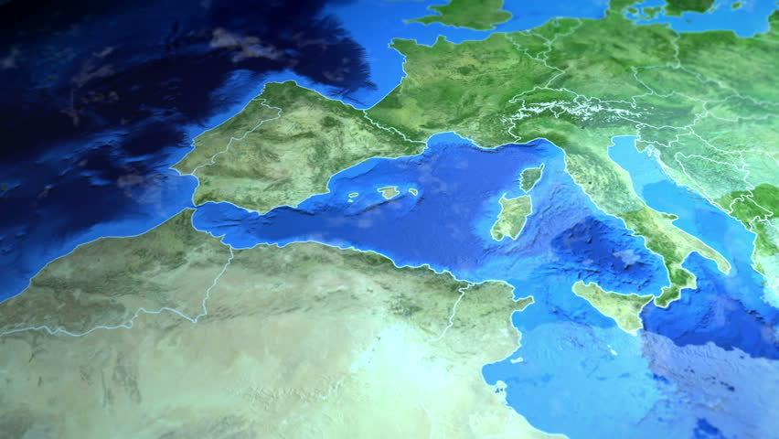 Mallorca on the Europe map. 3d map render, motion through clouds, land view from top with zoom of continent. Animated pin marked location of country on the geographic map. Background for travel intro.