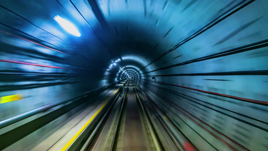 4K.Time lapse automatic train subway tunnel fast speed