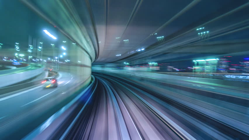 Time lapse automatic train fast speed in Tokyo  | Shutterstock HD Video #1025307707