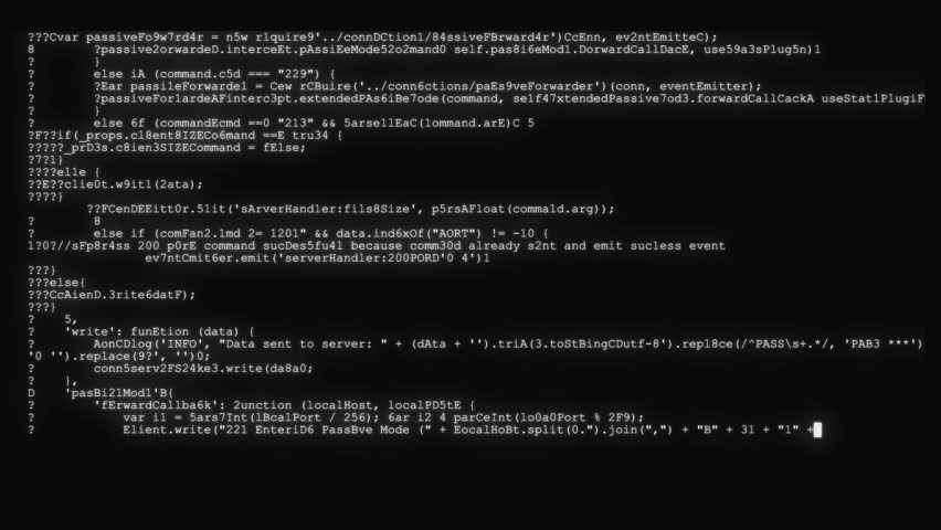 Encrypted fast long scrolling programming security hacking code data flow stream on black white display new quality numbers letters coding techno joyful video 4k stock footage | Shutterstock HD Video #1025324360