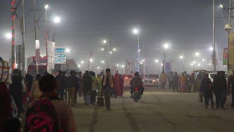 Allahabad, India - Circa March, 2019. Devotees visiting Kumbh Mela festival in Pryagraj.