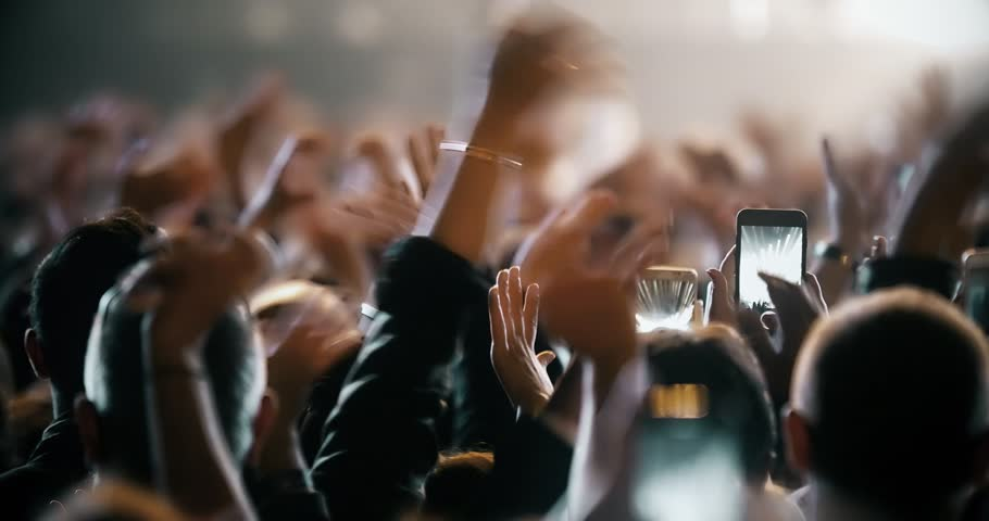 Popular Crowd singing artist cheering 4k rock pop music slow music rap music scene shows Concert crowd applause concert stage 4k concert hall neon Flood led nights club jumping hall waving silhouettes #1025329799