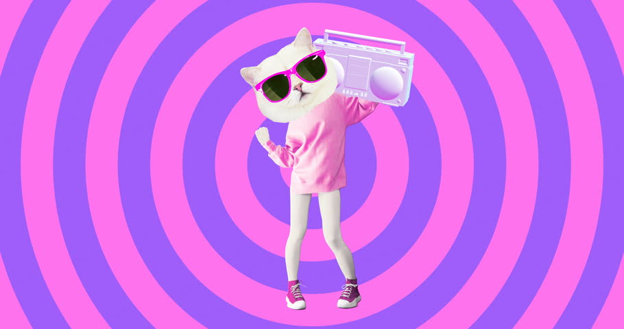 Minimal animation design. Pretty white Kitty. Dancing lover vibes. Pop and party mood #1025361518