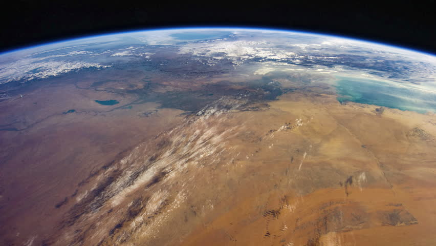 Time lapse of earth revolving viewing from NASA International Space Station (ISS) mainly Sahara Desert, Nile and Red Sea in Middle East - images courtesy of NASA. | Shutterstock HD Video #1025375402
