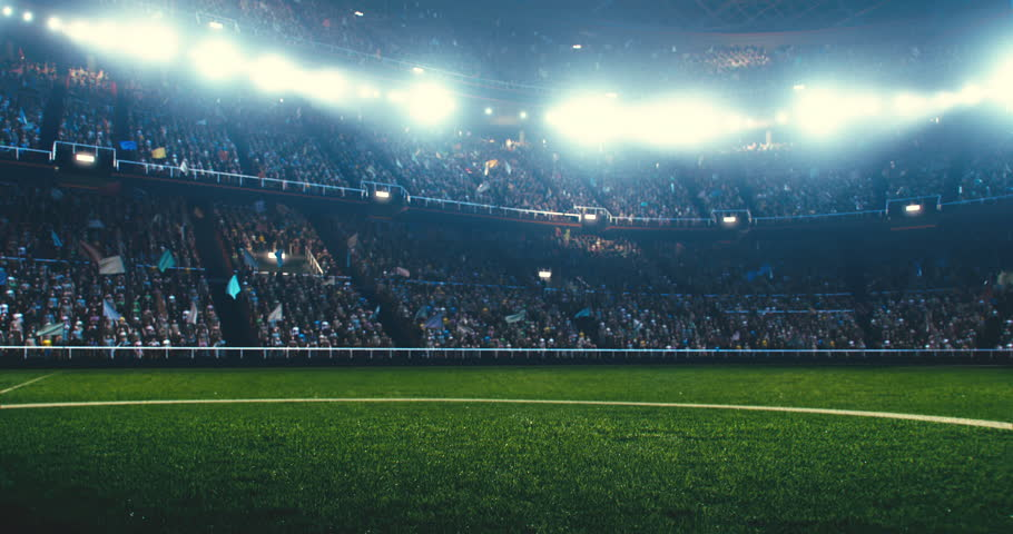 Full 3d modelled and animated soccer stadium with moving flags, people and lights