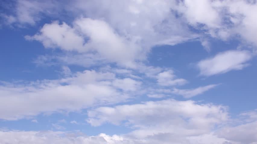 Blue clear summer sky in horizon, beautiful nice rolling clouds time lapse, sun shining with very nice white cloudscape. -UHD. | Shutterstock HD Video #1025381096