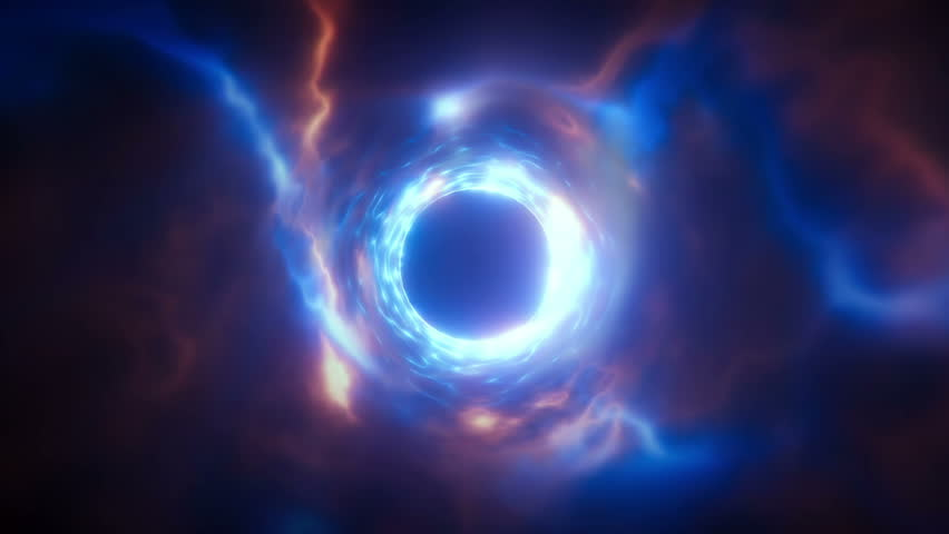 Abstract energy tunnel in space. Energy force fields Tunnel in outer space. Vortex energy flows