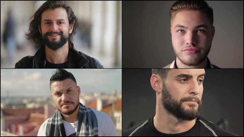 Collage of handsome Caucasian and Arab men with beard and moustache standing outside and inside, looking at camera. Split screen montage wall. Close up shots. Lifestyle concept #1025389769