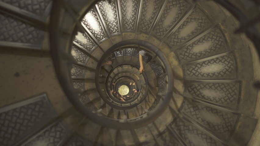 People on Spiral staircase in Arc de Triomphe - September 2018: Paris, France | Shutterstock HD Video #1025402930
