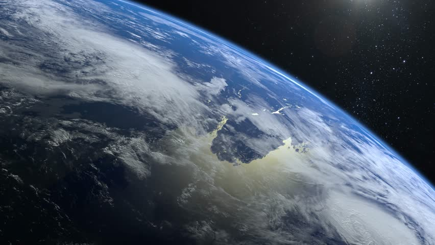 Earth from space. The camera flies away from the Earth. Stars twinkle. Flight over the Earth. The horizon is turned to the right. 4K. Sunrise. Realistic atmosphere. 3D Volumetric clouds. #1025424899