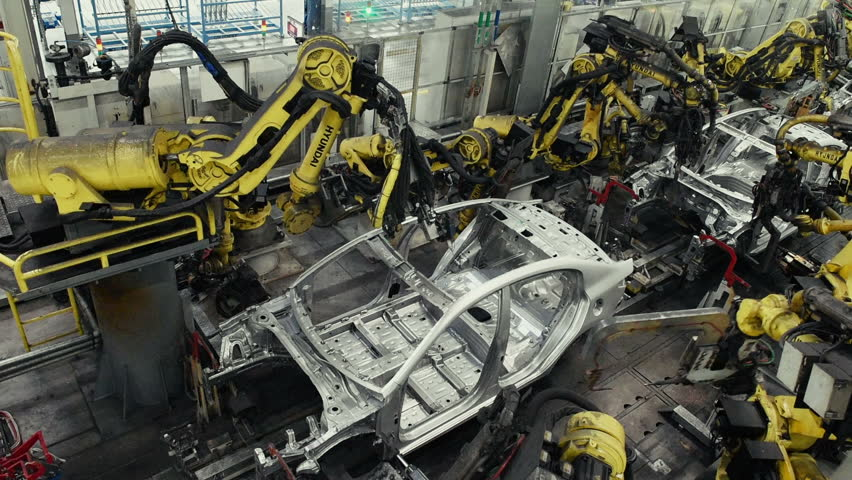 Saint-Petersburg, Russia - February 2, 2018: Welding of the car body with robots on the factory | Shutterstock HD Video #1025430932